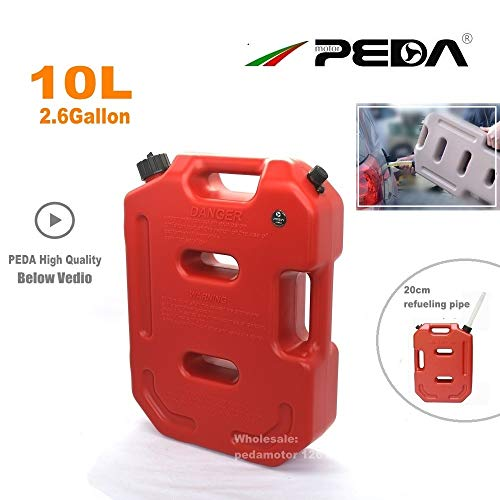 Accessories & Parts 10L Gas Can Jerry Can Red Portable Fuel Tank Plastic Diesel Cans ATV Gokart Utv Motorcycle Tanks Gasoline Mount Spout (Engineering Motorcycle Mount)