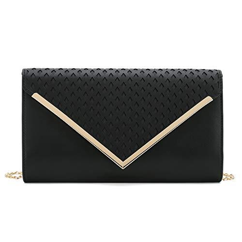 Charming Tailor Elegant PU Clutch Laser-cut Flap Evening Bag Formal Purse for Women (Black)
