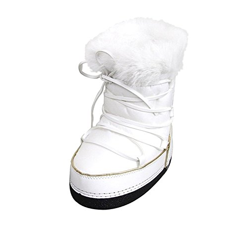 Price comparison product image Gucci Unisex White Nylon Kids Interlocking G Fur Trim Boots 298368 US 8