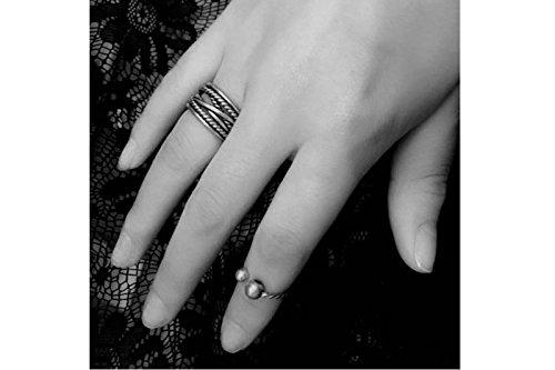 2pcs/Set Moda Abalorio de plata chapado en anillo de dedo Knuckle anillos