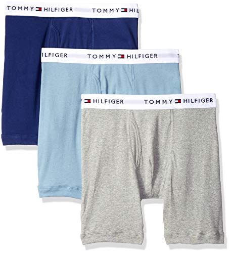 Tommy Hilfiger Men's Underwear 3 Pack Cotton Classics Boxer Briefs, Blue/Multi, S