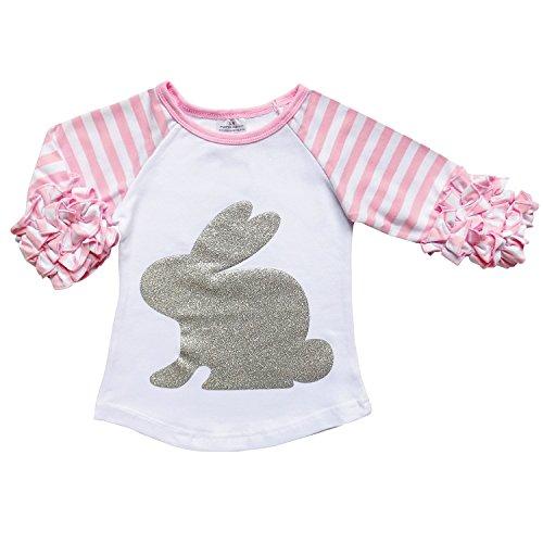 Girls Sparkle Stripe (So Sydney Toddler & Girl Winter Holiday Long Sleeve Sparkle Print Ruffle T-Shirt (XXL (7), Easter Bunny Pink Stripe))