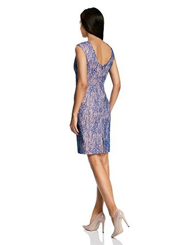 Mujer 7554l de con Encaje Ultra Escote oodji la Azul en Vestido Espalda 1PZxFnwOq