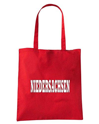 T-Shirtshock - Bolsa para la compra WC0842 NIEDERSACHSEN GERMANY LAND CITY Rojo