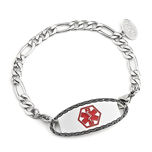 BAIYI Stainless Steel Figaro Chain Medical Alert ID Tag Bracelets 7 inches (Free Engraving) ()