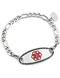 (Free Engraving) Stainless Steel Figaro Chain with Medical Alert ID Tag Bracelets for Women
