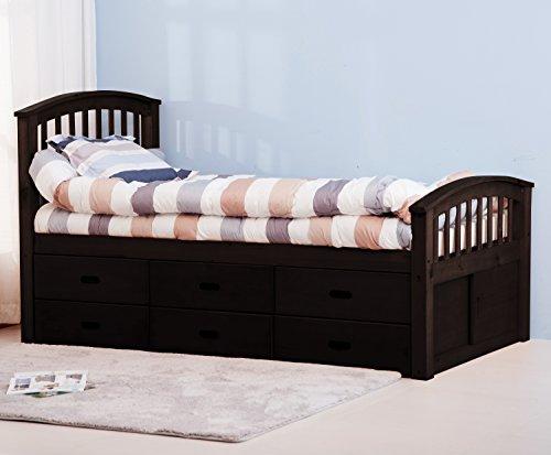 Merax Twin Size Platform Storage Bed with 6 Drawers (Espresso)