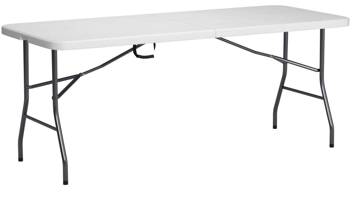 Cosco Products, 6-feet Centerfold Folding Table, Color: White Specked Pewter (Complete Set) by Cosco
