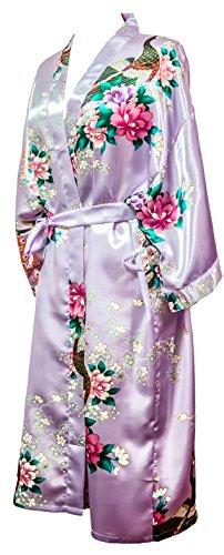 Kimono de CC Collections 16 colores shipping bata de vestir túnica lencería ropa de noche prenda despedida de soltera violeta claro