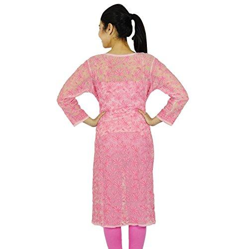 Étnica Kurti diseñador indio Chikan mujeres bordadas Top Casual Túnica Rosado