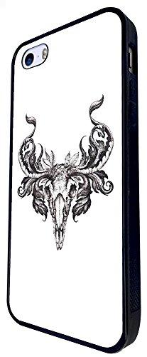 104 - Shabby Chic Ram Animal Skull Animal Head Skeleton Design iphone SE - 2016 Coque Fashion Trend Case Coque Protection Cover plastique et métal - Noir