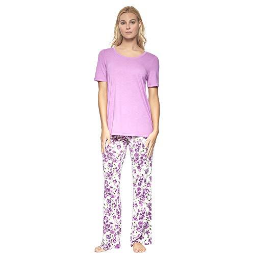 Felina | Lounge Set | Super Soft Knit Jersey Crew Neck Drawstring Pant w/Pockets (Violet, X-Large)
