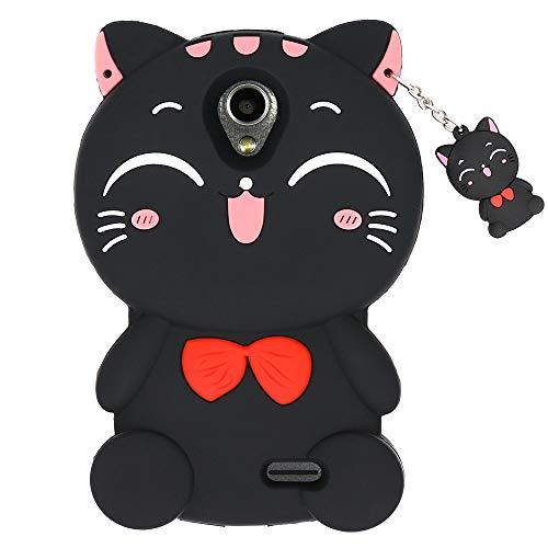 ZTE Maven 2 Case, ZTE Prestige N9132 Case, ZTE Sonata 3 Case, Avid Plus Case, Avid Trio Case, 3D Cute Cartoon Lucky Fortune Cat Soft Rubber Silicone Case Cover for ZTE Maven 2 Z831 (2016) (Black Cat)