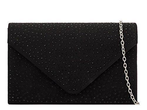 Suede Clutch Detail Diamante Women's Handbag Faux Black Evening Bag xCanw4vZW