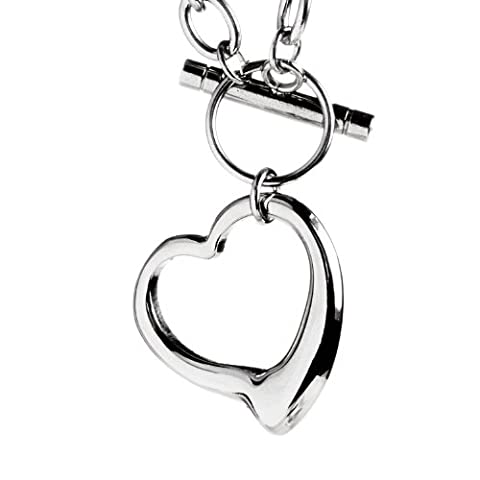 ELYA Stainless Steel Cable Chain Open Heart Toggle Necklace (Heart Toggle Chain Necklace)