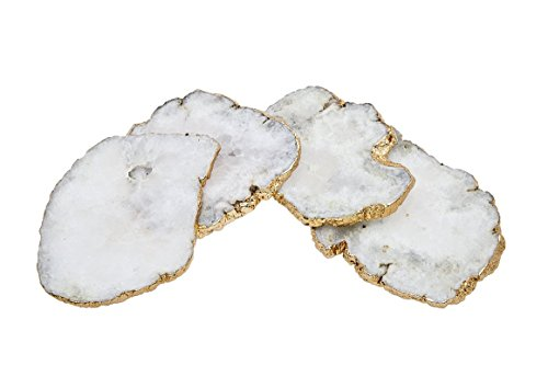 Godinger Silver Art White Quartz Csrts Brs Edge Set of 4 (Slice Agate White)