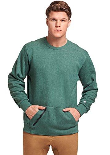 Russell Athletic Men's Cotton Rich Fleece Sweatshirt, Green Heather, XXL