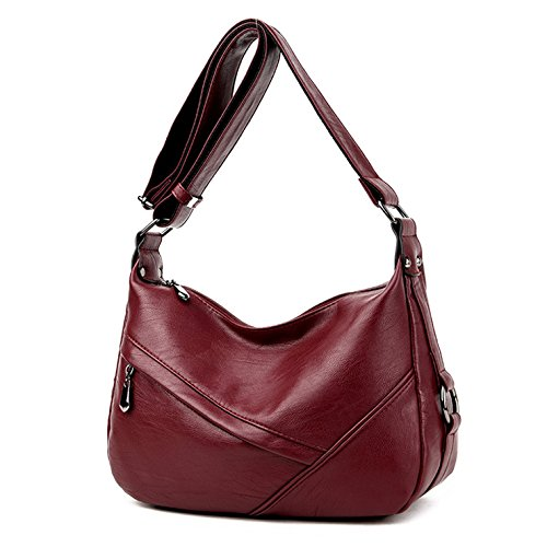 Lustear Ladies Soft Leather Shoulder Bags Hobo Style Bag (Wine Red) Leather Small Hobo Bag