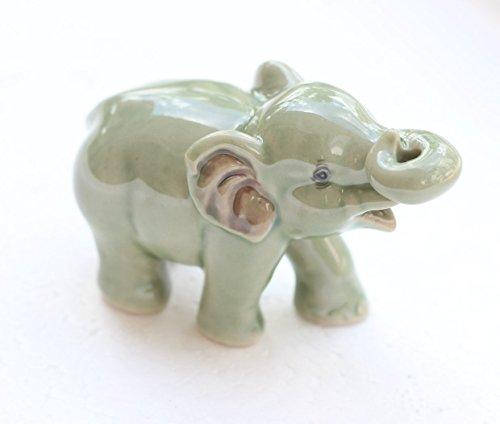 Dollhouse Miniatures Ceramic Green Elephant Incense FIGURINE Animals Decor by ChangThai Design