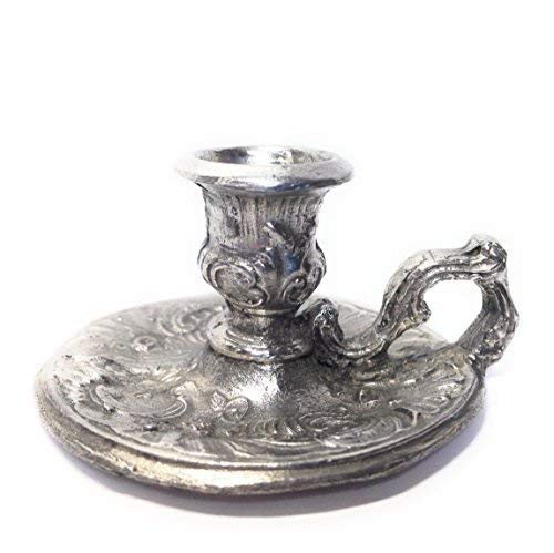 Small Chamberstick Candle holder, Cast, Metal Alloy with Tin Coating ()