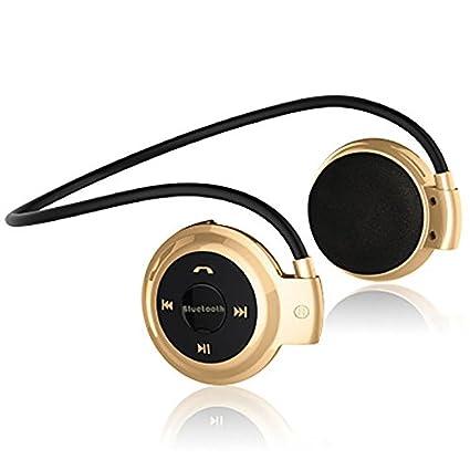 FairOnly - Auriculares inalámbricos con Bluetooth, Radio FM, estéreo, con Ranura para Tarjeta Micro SD Dorado Dorado