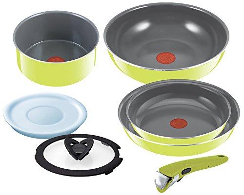 T-fal Pan Take the Frying Pan Set ''Ingenio Neo'' Handle Ceramic Control Green Set 7 L60091 by T-fal