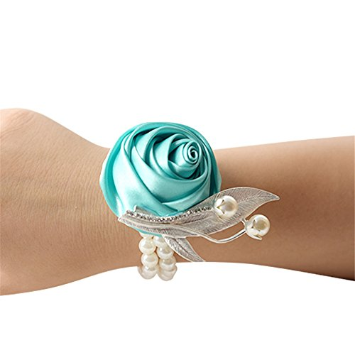 USIX 2pc Pack-Handmade Satin Rose Wrist Corsage With Elastic Lace Wristband for Girl Bridesmaid Wedding Wrist Corsage Party Prom Flower Corsage Hand Flower (Tiffany Blue)]()