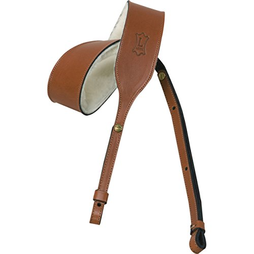 Wide Wale Plush - Levy's Leathers PMB32-WAL Veg-Tan Leather Banjo Strap with Sheepskin, Walnut