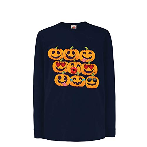 lepni.me Kids T-Shirt Pumpkin Emoji Funny Halloween Party Costume (12-13 Years Blue Multi Color)