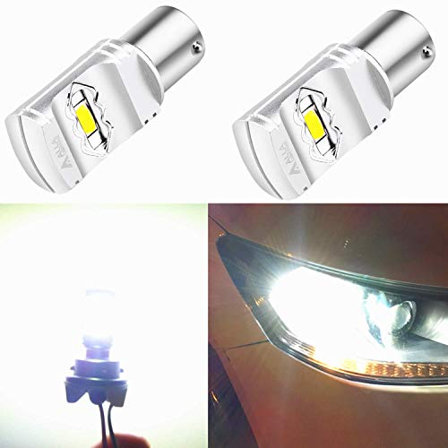 Alla Lighting 3800lm BA15S 1156 White LED Bulbs Xtreme Super Bright P21W 7506 1156 LED Bulb High Power ETI 56-SMD 6000K Xenon LED 1156 Bulb for Turn Signal Back-Up Reverse DRL Brake Lights (Set of 2)