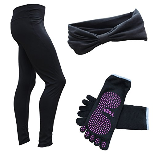 Women's Yoga Pant with FREE headband & Yoga Socks - All Premium Quality - by Chromatic (XXL)