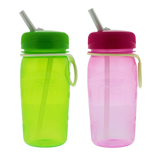 Rubbermaid Refill Reuse Water Bottle Set, 14oz, Green & Pink - Great for lunches or on the go Activities