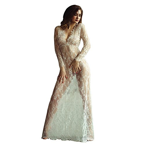 Laisiyi Sexy V Neck See Through Floral Lace Dress Long Sleeve Maxi Dress