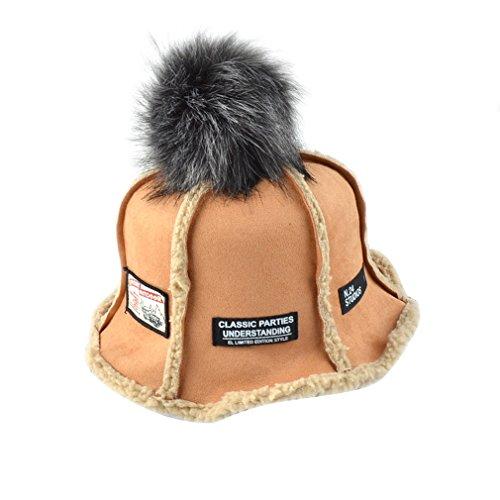 autunno Cappello e con peluche palla per arancione Bob Acvip caldo 5 colori breve adulti donna per pescatore Cappello inverno fOFRqI