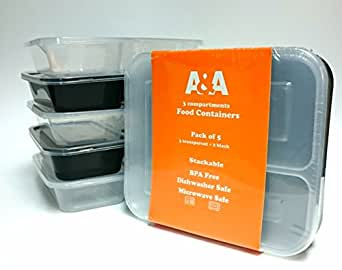 a a 3 compartment reusable food storage containers with lids dishwasher and microwave safe. Black Bedroom Furniture Sets. Home Design Ideas