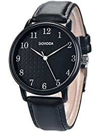 Watches for Men DOVODA Men's Wrist Watch Quartz Black Leather wristwatch Band