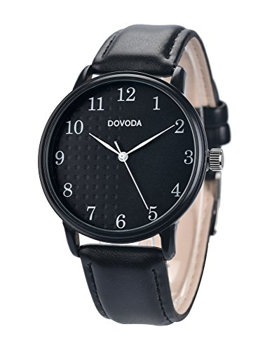 Black Watches for Men Stylish Elegant Quartz Analog Easy Reader Watch with White Number Time Markers and Black Dial Leather Strap for Everyday Wear by DOVODA (Image #6)
