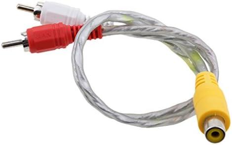 P Prettyia 32cm RCAメス-2 RCAオスプラグオーディオアダプターYスプリッターコネクタケーブル