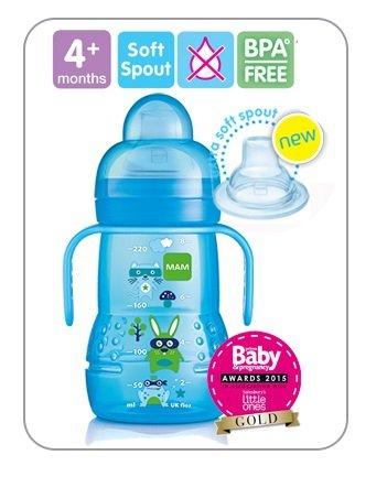 220/ml//4/M Mam Trainer 2/x Botella con libre Aspiradora y extra suave Boquilla Azul