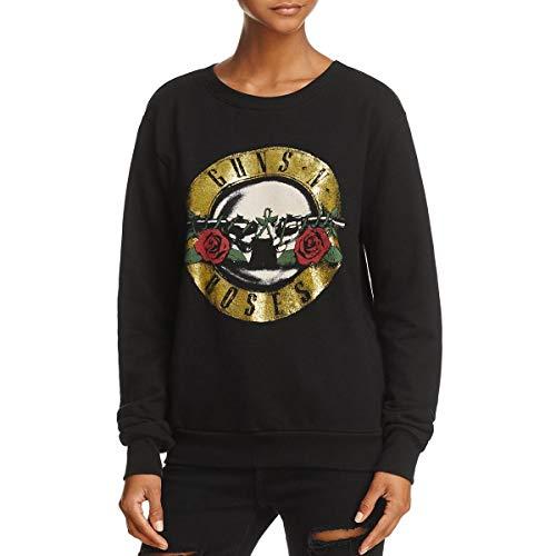 - DAYDREAMER Womens Guns N' Roses Metallic Vintage Sweatshirt Black XS