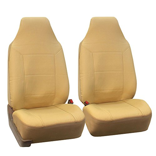 (FH Group FH-PU103102 High Back Royal PU Leather Car Seat Covers Airbag & Split Solid Beige)