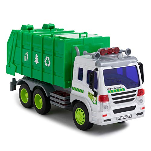 Toy To Enjoy Garbage Truck Toy with Light & Sound - Dump Cleaning Trash Truck - Friction Powered Wheels & Openable Back - Heavy Duty Plastic Vehicle Toy for Kids & Children