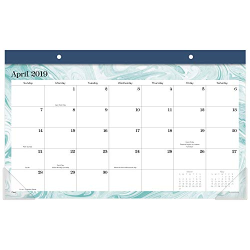 """Mead 2019-2020 Academic Year Monthly Compact Desk Pad, Compact, 17-3/4"""" x 11"""", Marble (D1209-705A)"""