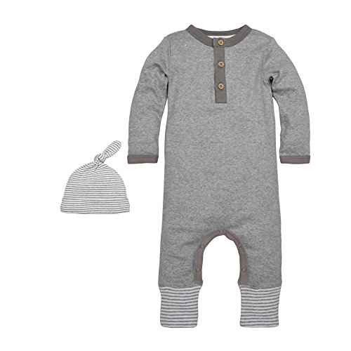 Burt's Bees Baby Baby Footed Coverall and Hat Set, Henley Coverall and Hat Set, Heather Grey, 0-3 Months