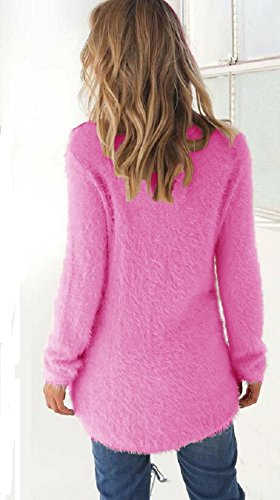 Chaud Femme Maille Slim Top Tunique Chandail Asymetrique Jumper Rond Landove Sweater Hiver Haut fit Longues Rose Pull Col Casual Blouse Manches Solide Fonc Chemise Long Tricot w71Exn56qF