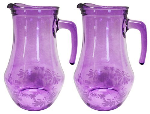 Set of 2 Floral Purple Glass Pitchers! 27 Ounces - Thick Quality Glass Pitcher Beautifully Designed and Decorated! Tasteful Classy Pitchers Perfect for Anytime of Year! (2) ()
