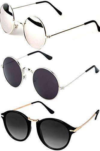 Y&S Sunglasses Combo Set of 3 Goggle Sunglasses for Women Men Boys and Girls Latest Stylish (55)