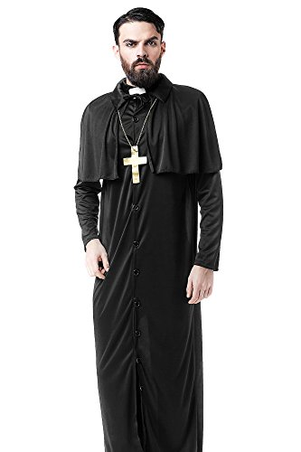 Men's Missionary Christian Church Priest Monk Dress Up & Role Play Halloween Costume (Priest Outfit Halloween)