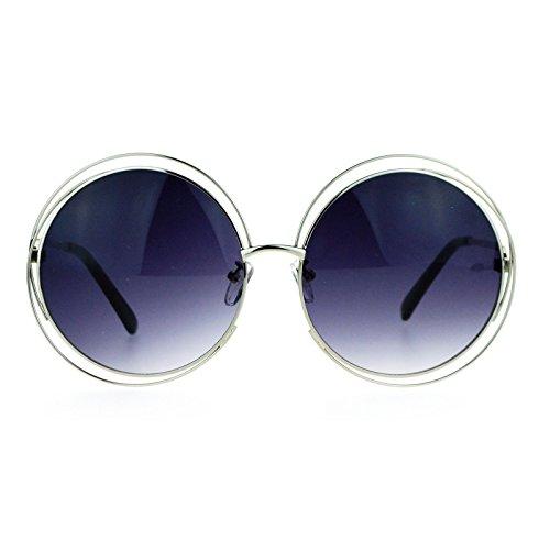 SA106 Oversize Scribble Circle Metal Rim Designer Fashion Sunglasses - Sunglasses Rim Circle