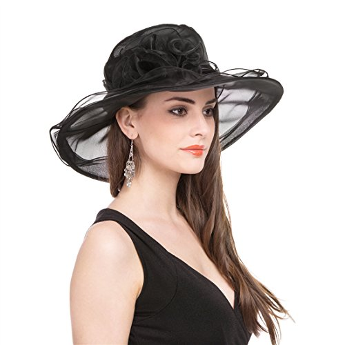 SAFERIN Women's Organza Church Kentucky Derby Fascinator Bridal Tea Party Wedding Hat (1-Black) by SAFERIN (Image #2)